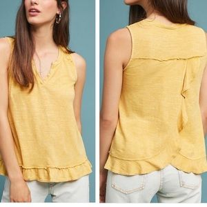 Anthro Maeve Yellow Poinsot Ruffle Tank Top NEW